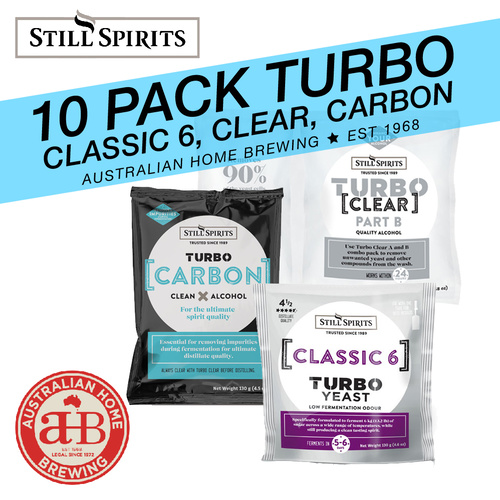 10 Pack Still Spirits Turbo Classic 6 Yeast Turbo Carbon & Turbo Clear